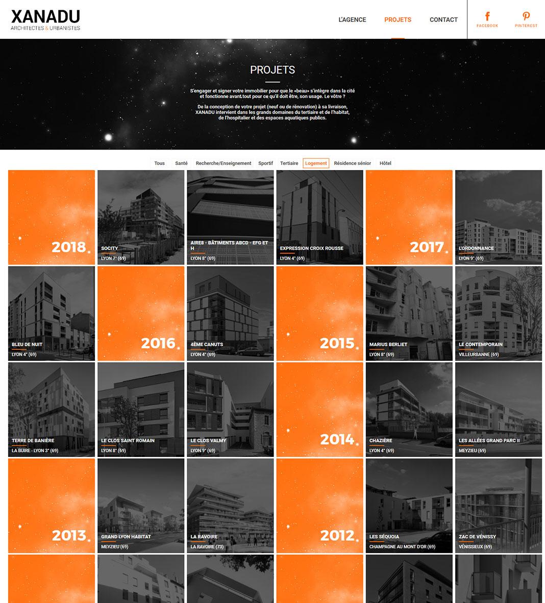Page des projets